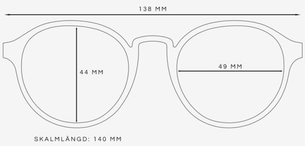 Runda solglasögon storleksguide