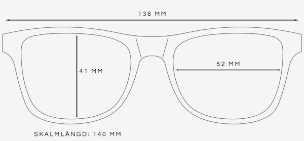 Wayfarer solglasögon storleksguide